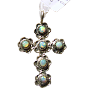 Sterling Silver Cross with Opal Cabochons