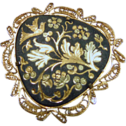 Damascene Heart Shape Brooch with Floral MOtif