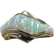 Sterling Silver Ring with Opal Corn Rows