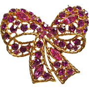 Weiss Gold Tone Bow Brooch with Hot Pink and Scarlet Pink  Rhinestones