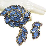 Costume Jewelry Sale ***Broach and Earrings - Blue Moonstone and Small Pink Rhinestones