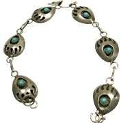 Bear Paw Bracelet in Sterling Silver and Turquoise