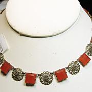 Czech Faux Carnelian and Filigree Brass Necklace