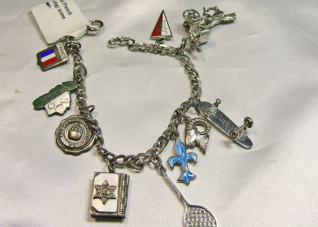 10 Charm White Gold Filled Charm Bracelet