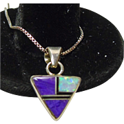 Triangular Pendant with Sugilite and Opal Inlay on a Sterling Chain