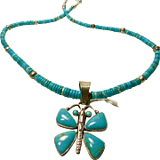 Turquoise and Sterling Necklace with Butterfly Pendant