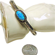 Southwestern Sterling Narrow Cuff Bracelet with Opal