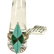 Turquoise and Malachite Diamond Shape Inlay  Sterling Silver Ring