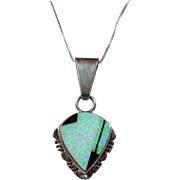 Opal and Sterling Silver Pendant on Sterling Chain
