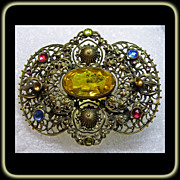 Victorian Brass Filigree Sash Pin with Multiple Colored Stones