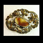 Victorian  Sash Brooch with Ivy and Lady Bugs Surrounding Center Faux Agate
