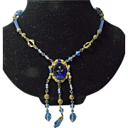 1920s-1930s Brass and Blue Press Glass Pendant Necklace