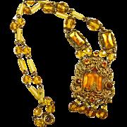 Czech 1920s-1930s Brass Necklace with Glass Stones