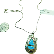 Effie C. Sterling Silver Pear Shape Pendant with Turquoise On a Chain