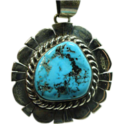 Sterling Silver Pendant with Sleeping Beauty Turquoise