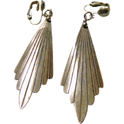 Sterling Silver Earrings With a Fan Shape Drop