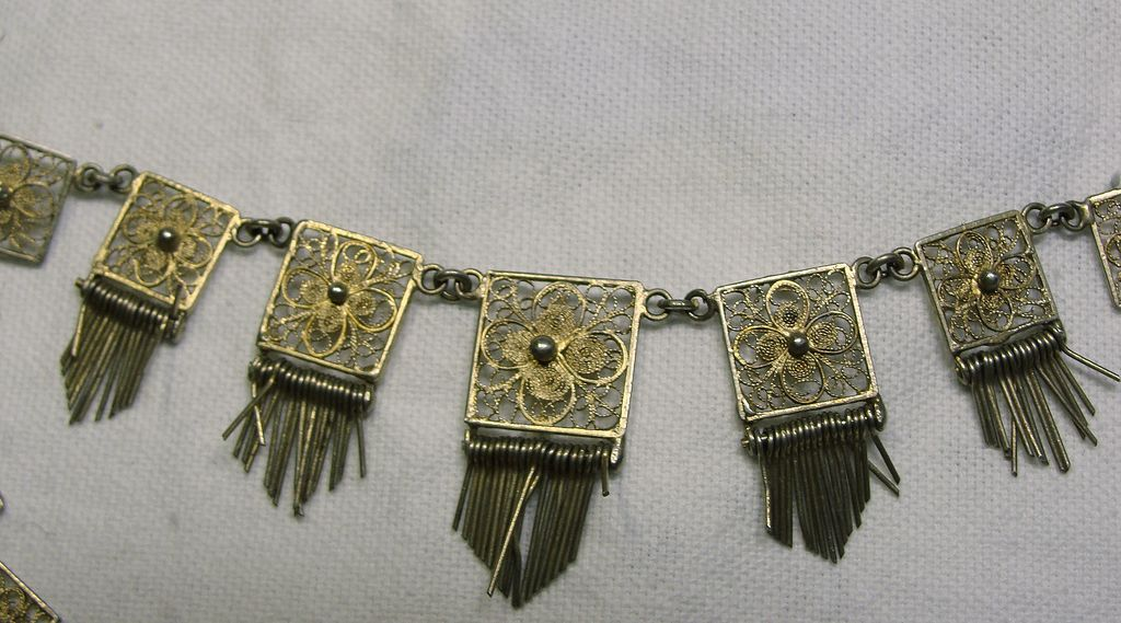 1920s Italian Gold Wash Over Sterling Silver Necklace