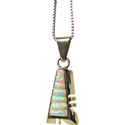 Triangular Sterling Silver Pendant with Opal Corn Rows on Sterling Chain
