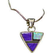 Triangular Shape Sterling Silver Pendant with Sugilite and Opal Inlay on Sterling Chain