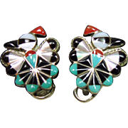 Sterling Silver Thunderbird Clip Earrings with Stone on Metal Inlay