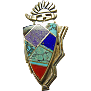 Sterling Silver Kachina Pendant with Stone on Metal Inlay