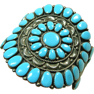 1970s Sterling Silver and Turquoise Cluster Bracelet