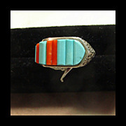 Sterling Silver Buckle Style Ring with Turquoise and Coral Inlay