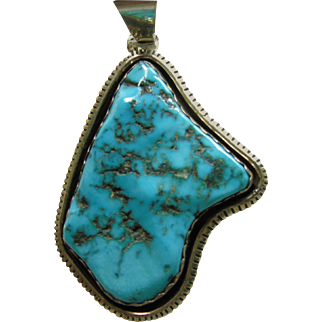 Sleeping Beauty Turquoise Sterling Silver  Pendant