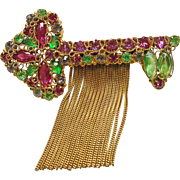 Large Robert Rhinestone Brooch in the Shape of a Key