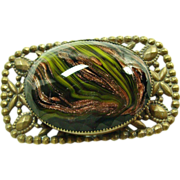 Large Venetian Glass Cabochon in Cut Brass Broach