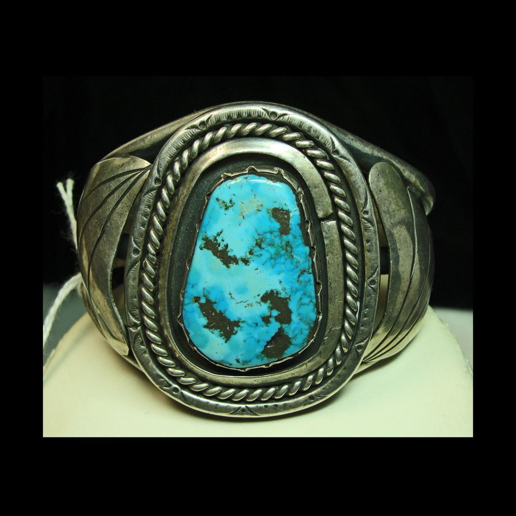 Sterling Silver Cuff Bracelet with Aqua Color Turquoise with Dark Matrix