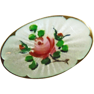 Sterling Guilloche Enamel  Brooch with Roses on White Background