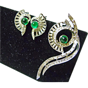 Hattie Carnegie Deco Rhinestone Brooch and Earrings