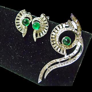 Hattie Carnegie Deco Rhinestone Brooch and Earrings
