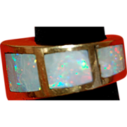 Fantastic Custom Modernist Australian Opal Ring 14 Kt