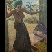 Germaine (Paul) Gauguin Chardon  * Original Oil of African Black Native Nude Lady