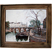 F.H. Callaerd Paris River Seine Scene with Barges