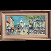 Mystery Artist 1950s Montmarte Paris Street Scene