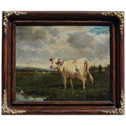 Cow in pasture by Emile van Marcke de Lummen