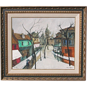 Bernard Lignon, Listed French Modernist, Mid Century Artist Montmarte Paris Scene 1965