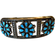 Vintage Turquoise Petite Point Floral Design Trio Sterling Silver Cuff Bracelet