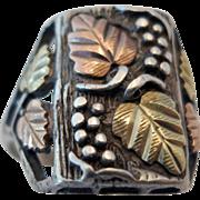 Vintage Estate Sterling Silver and Black Hills Gold Man's Ring