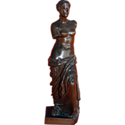 Antique Venus de Milo bronze, marked H. Luppens Redeztion Sauvage Bruselles.