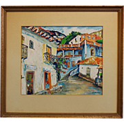 "French Folk Art Artist Elisee Maclet (1881-1962) Mixed Media ""Town Street"""