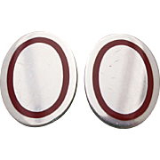 AUTHENTIC-TIFFANY-Co-STERLING-SILVER-RED-ENAMEL-OVAL-CUFFLINKS-POUCH  Hav