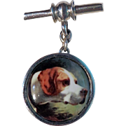 English enameled sterling silver  English Setter Hunting - Bird Dog Cuff links