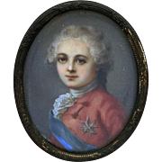 """Antique Miniature Painting of """"The Dauphin of France"""""""