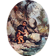 Delightful Miniature oil on wood panel. Painting of a man and boy by a Stream