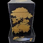 【慶】 Vintage Japanese Wooden Gold Lacquer Food Service 5 Box set / JUBAKO