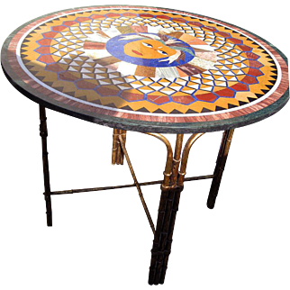 Micro Mosaic Pietra Dura Round Table Top with Custom Bas